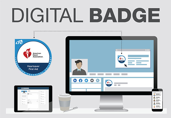 An LTC-generated digital badge example is shown for successfully completing Heartsaver First Aid. The graphic also shows where a digital badge shows up in an online profile.