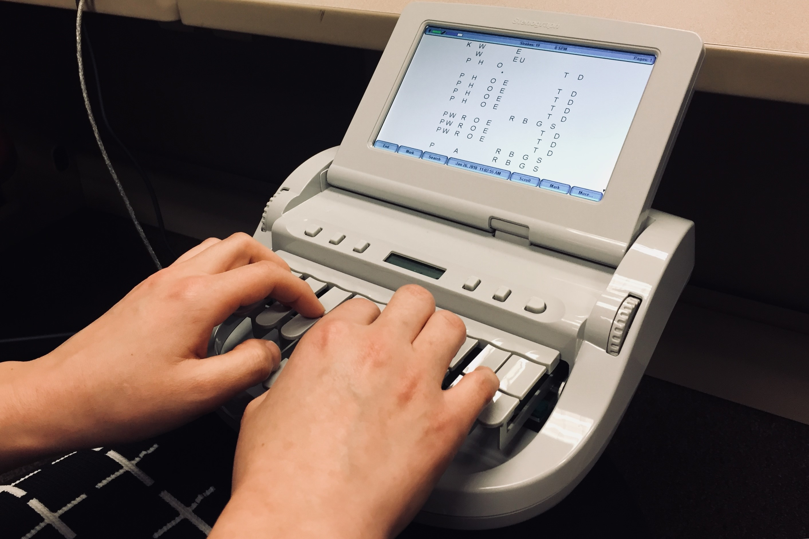 A stenograph machine is used by court reporters to document court proceedings.